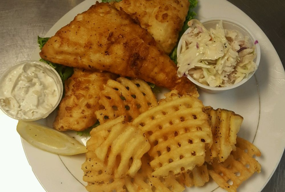 Friday Fish Fry: fried or broiled with waffle fries and slaw $13